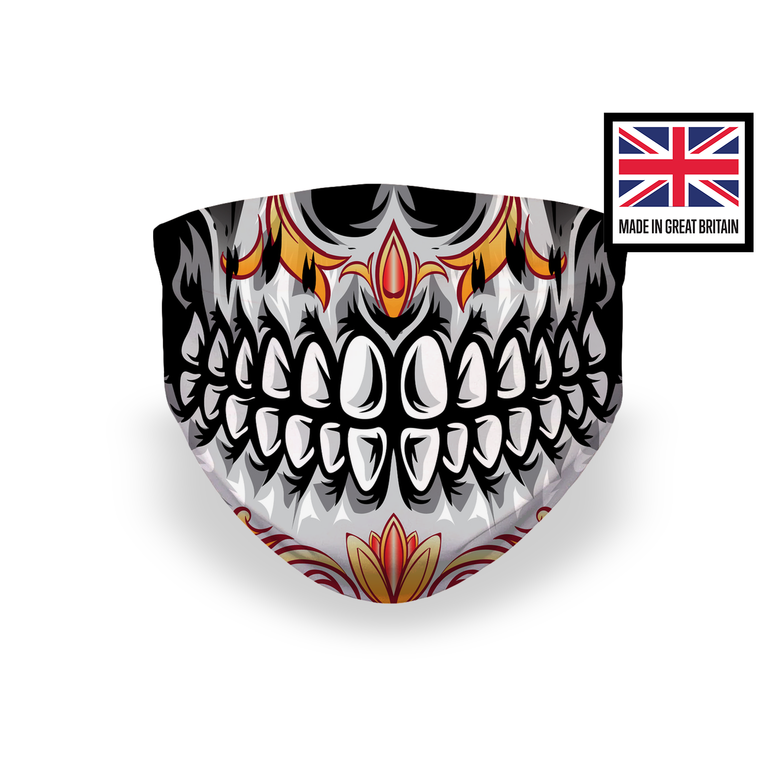 Sugar Skull Mouth Smile Teeth Roses Sublimation Face Mask