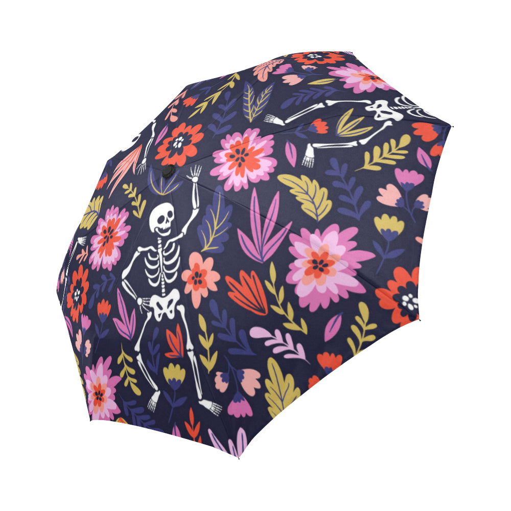 Dancing skeletons in the floral garden Auto-Foldable Umbrella-Thread Domain