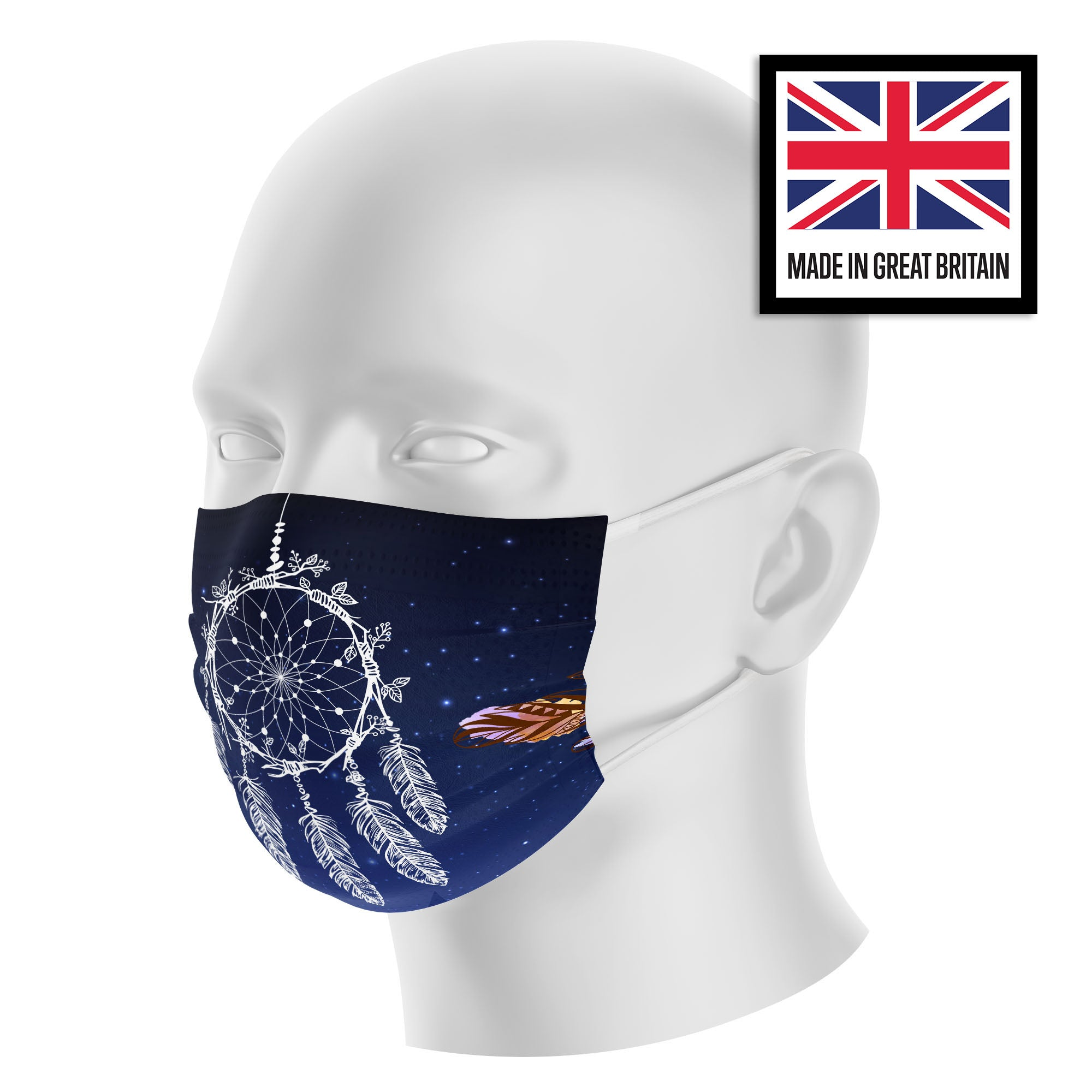 Dreamcatcher Feather Tribal Blue Sky Sublimation Face Mask