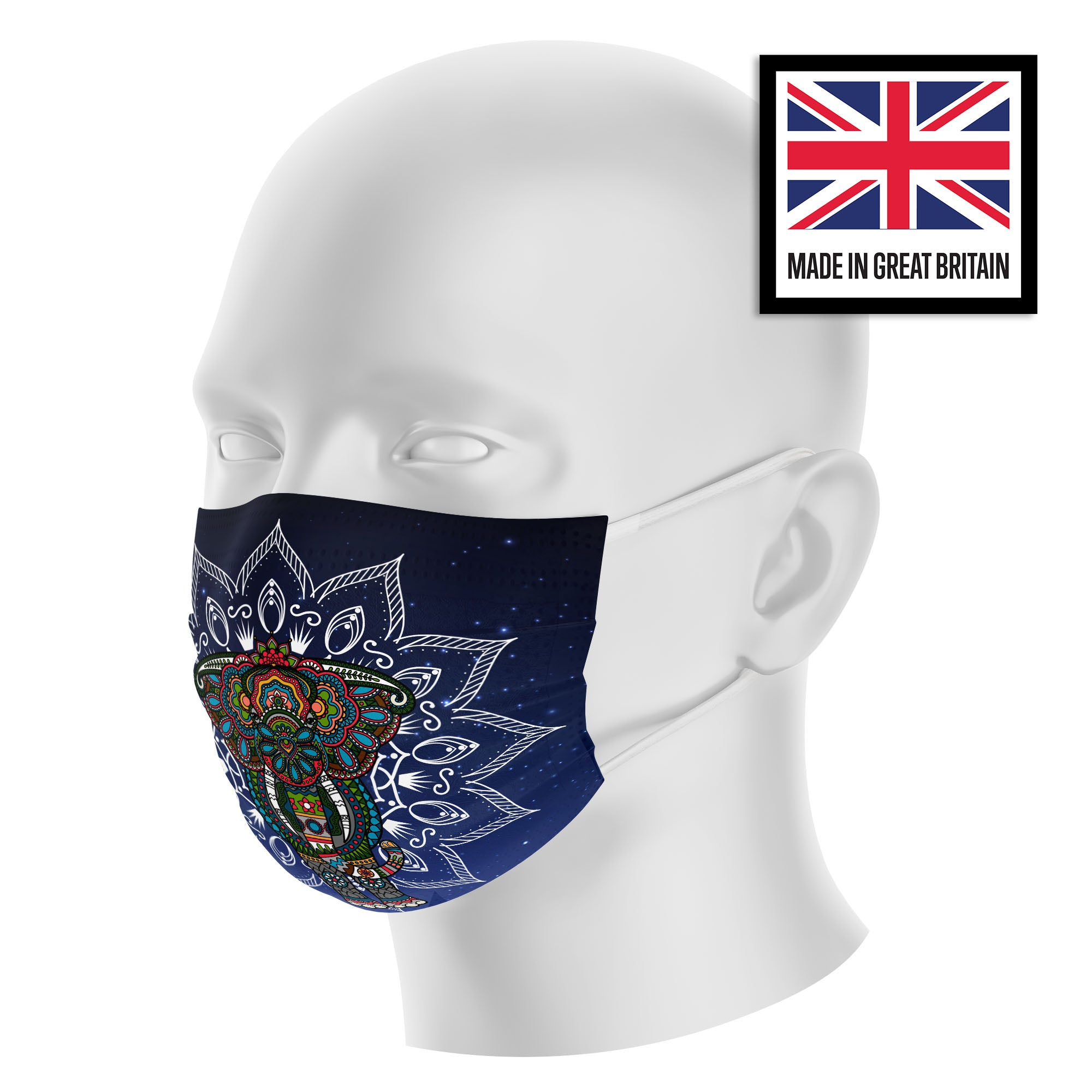 Elephant Mandala Blue Sky Sublimation Face Mask
