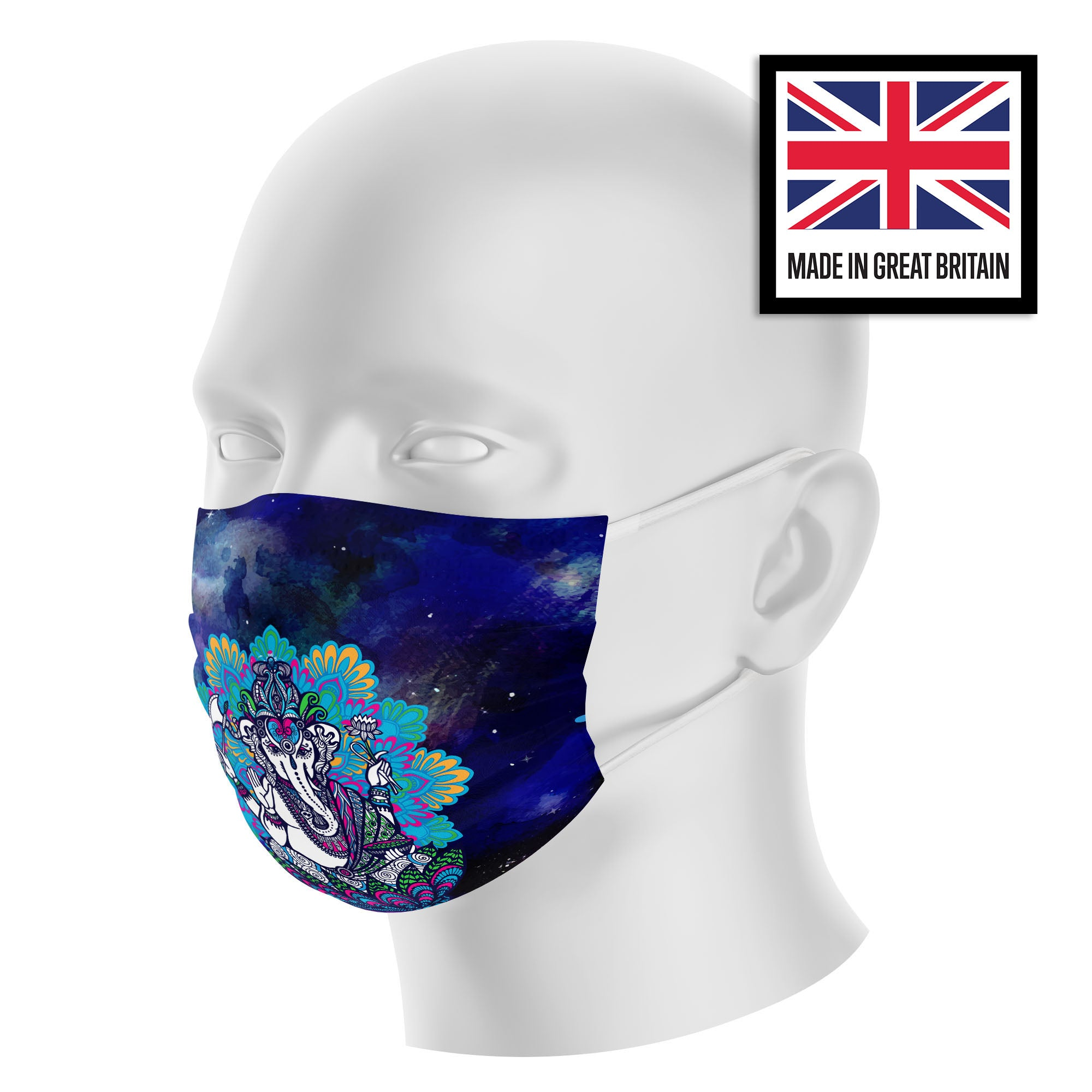 Elephant Mandala Galactic Sky Sublimation Face Mask