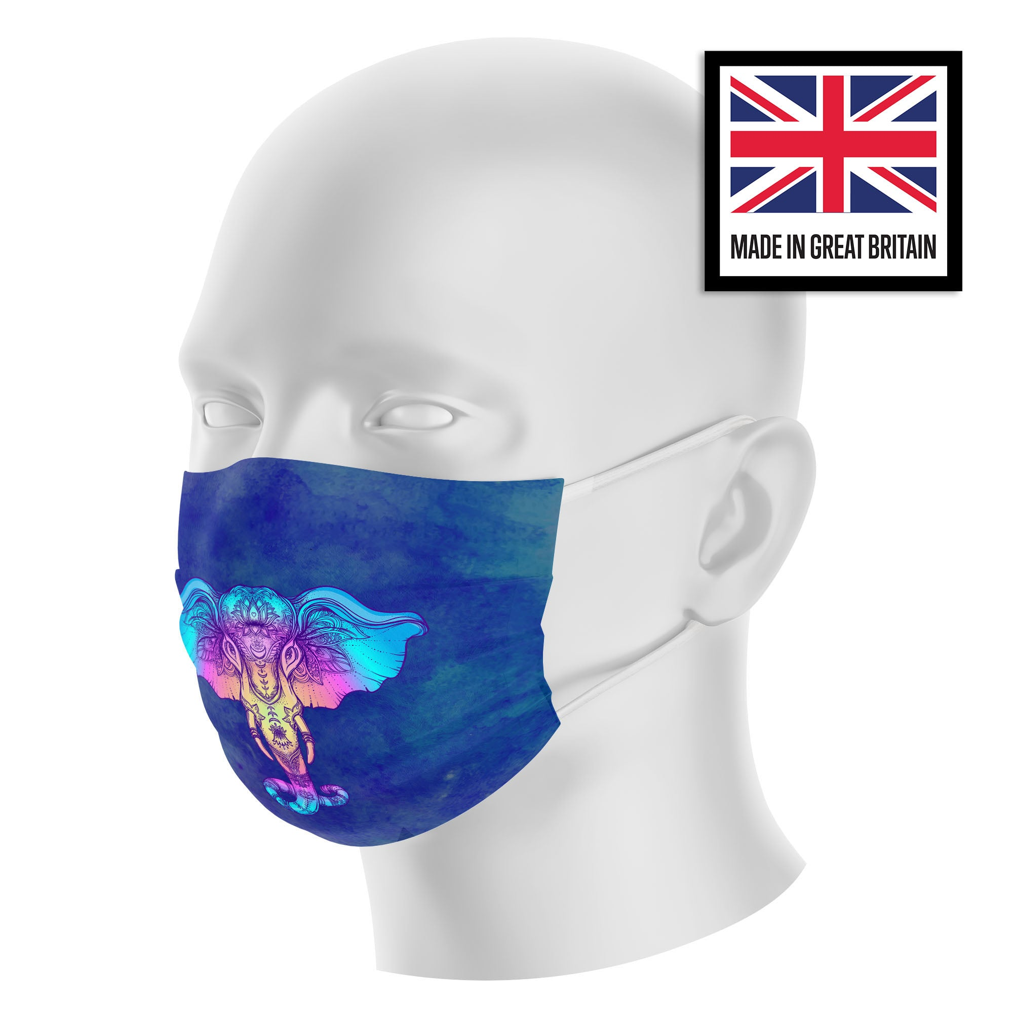 Elephant Mandala Neon Blue Watercolor Sublimation Face Mask