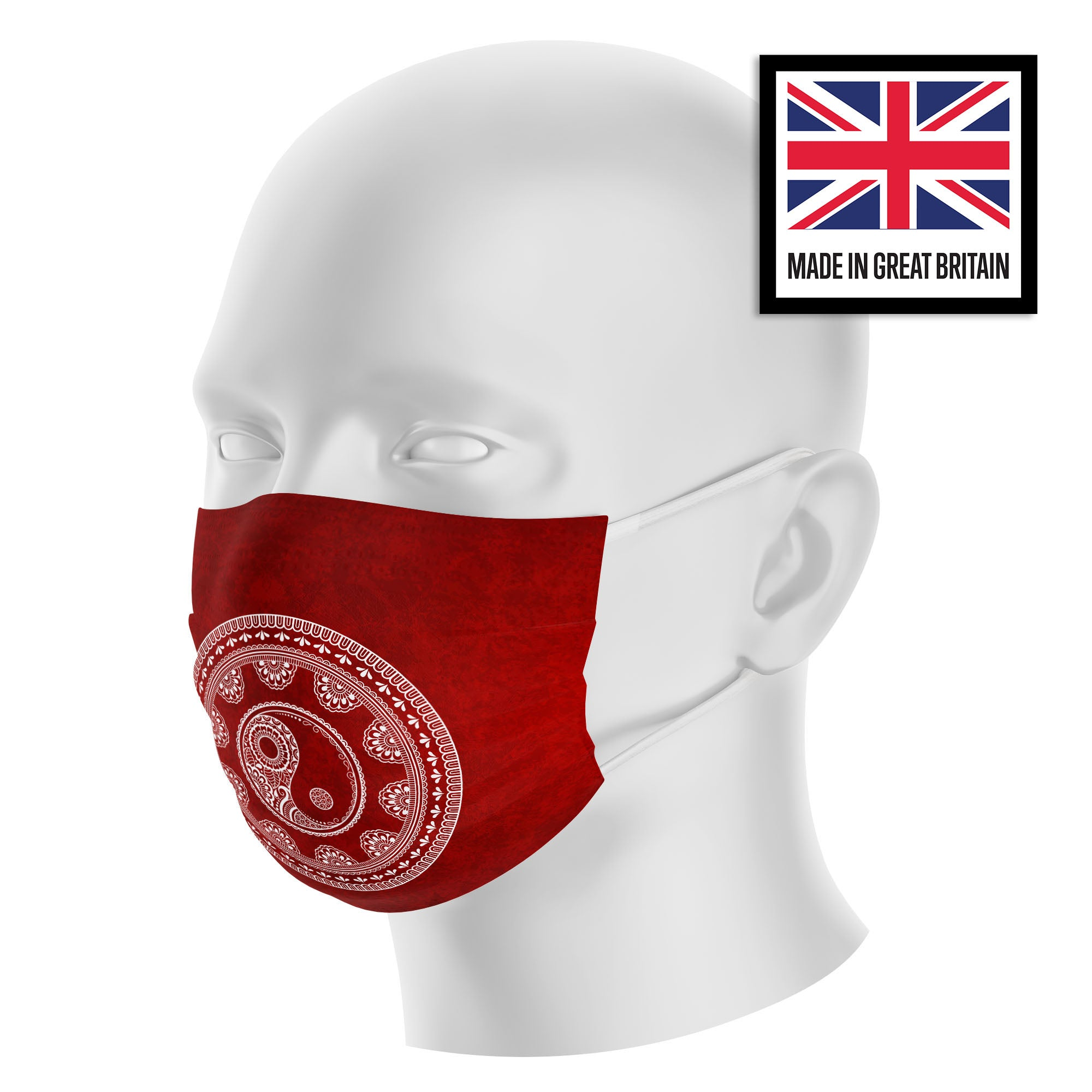 Hippie Mandala Peace Red Sublimation Face Mask