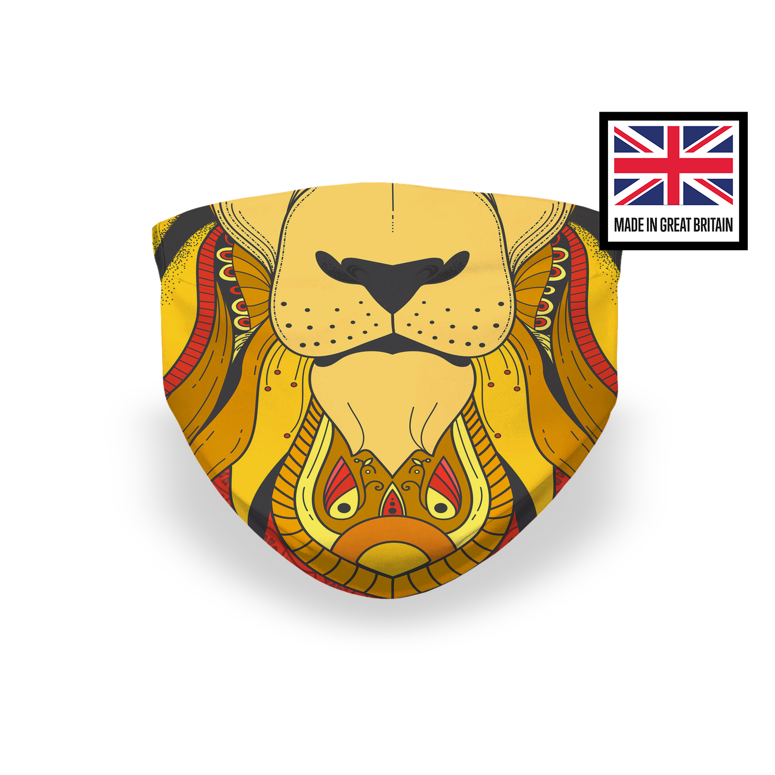 Lion Mandala Yellow Orange Sublimation Face Mask
