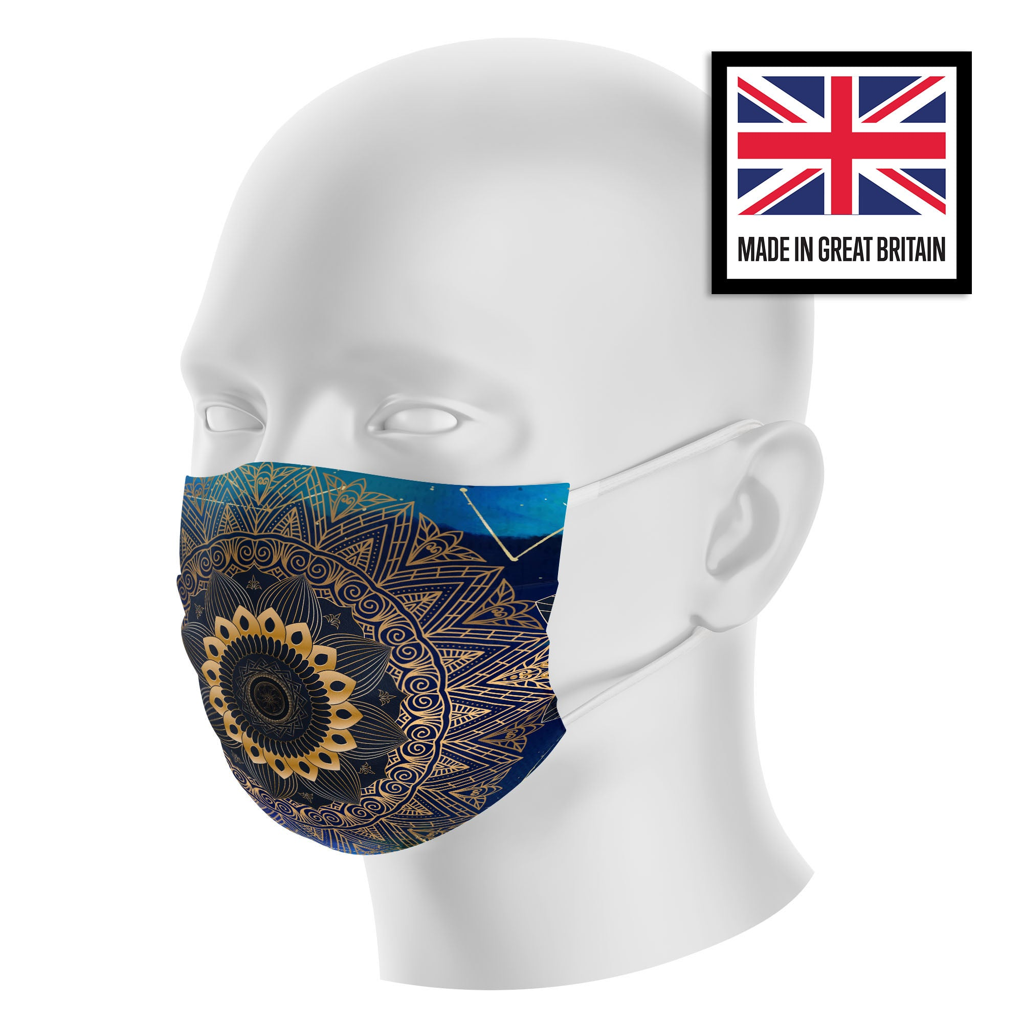 Mandala Navy Gold Galaxy Sublimation Face Mask