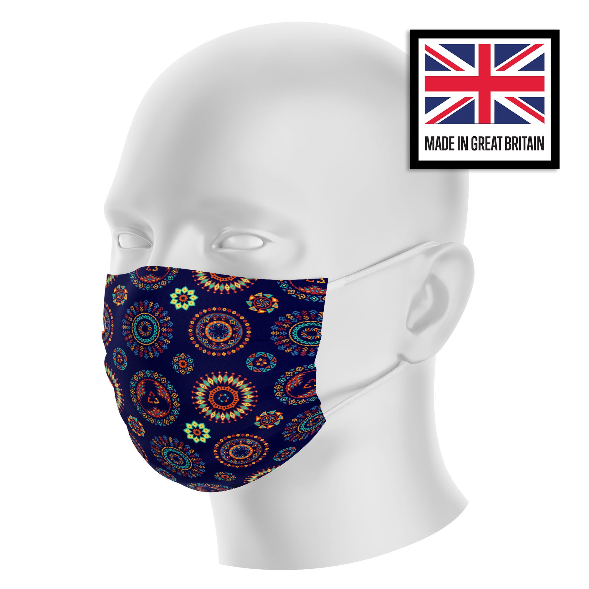 Navy Tribal Mandala Hippie Sublimation Face Mask