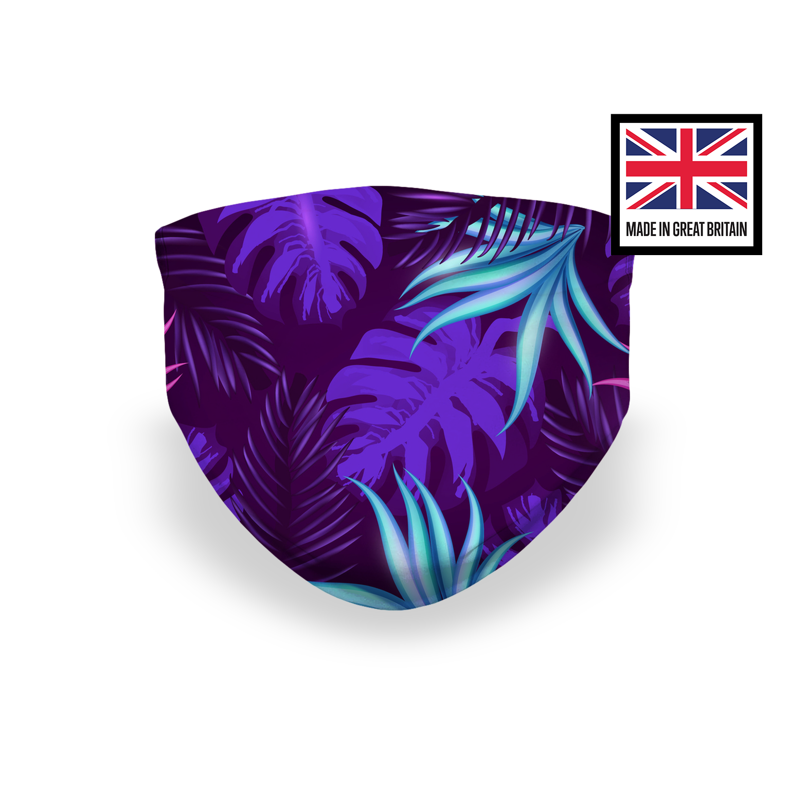 Palm Leaves Purple Pink Flowers Sublimation Face Mask