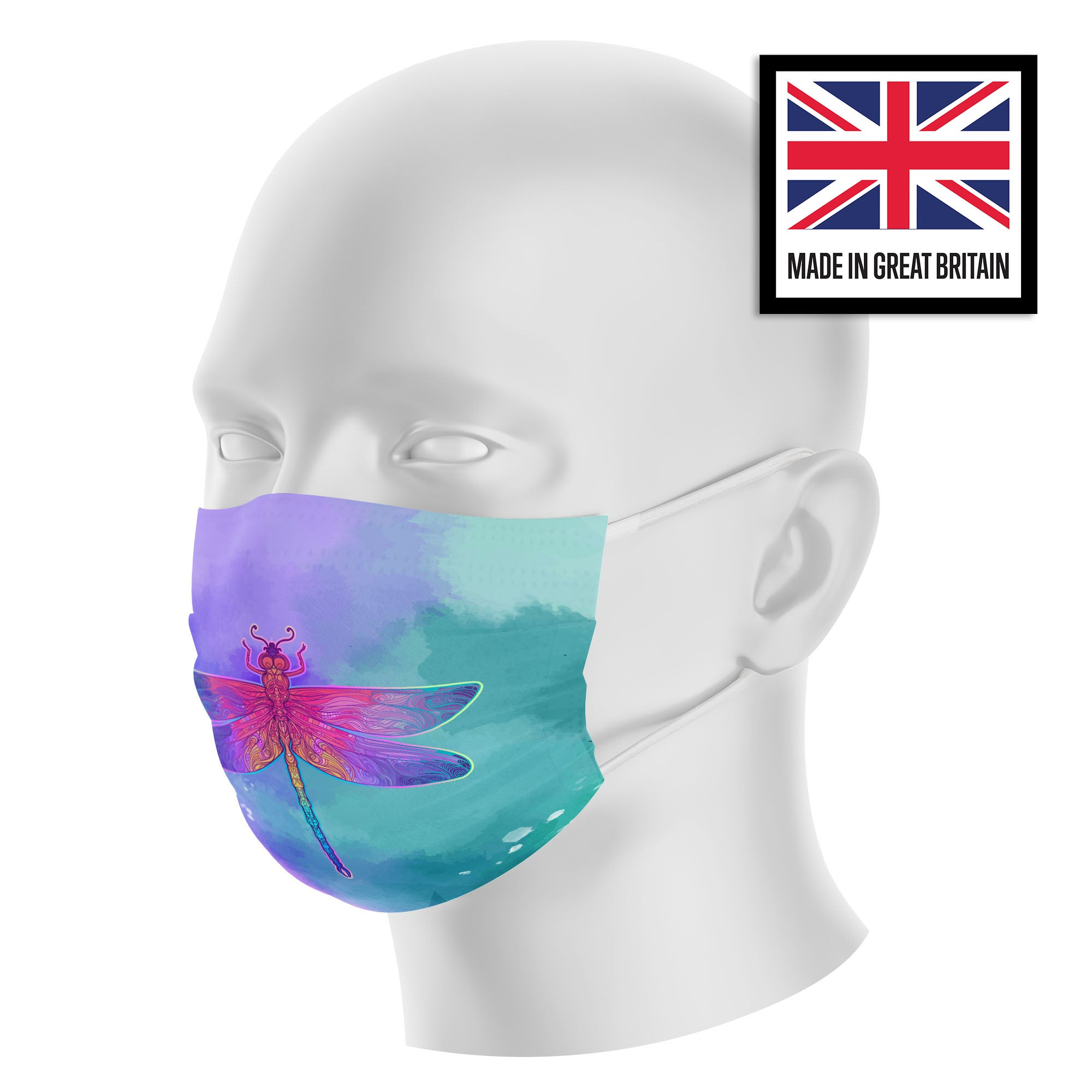 Peacock Neon Purple Watercolor Sublimation Face Mask