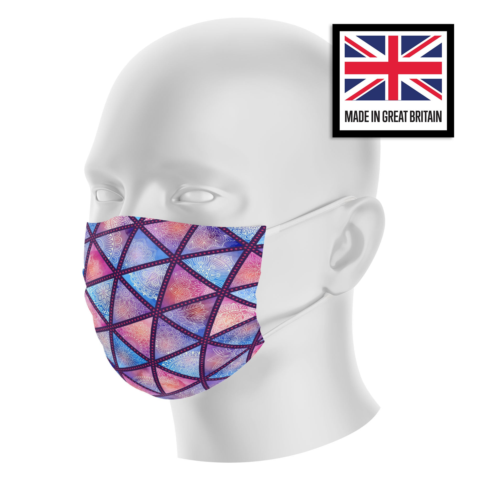 Purple Mandala Print Sublimation Face Mask