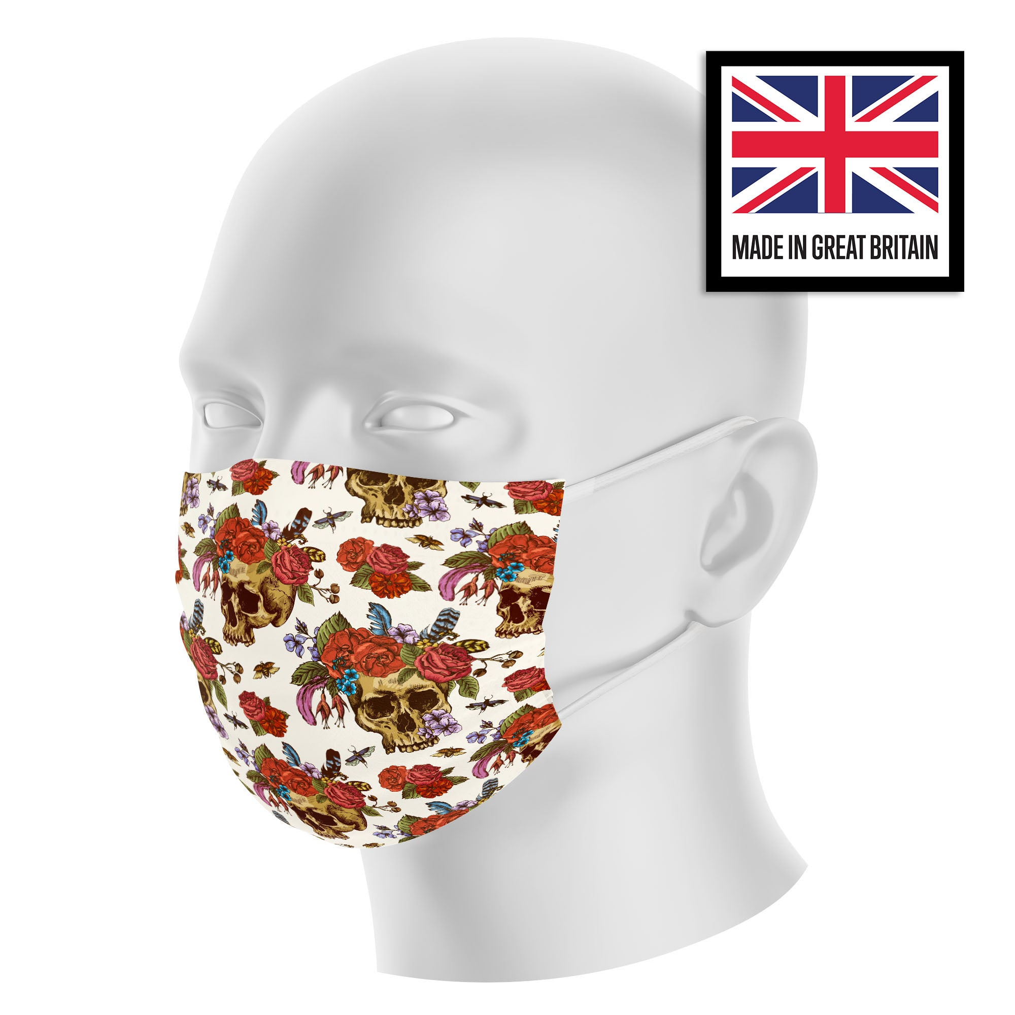 Skull and Roses Sublimation Face Mask