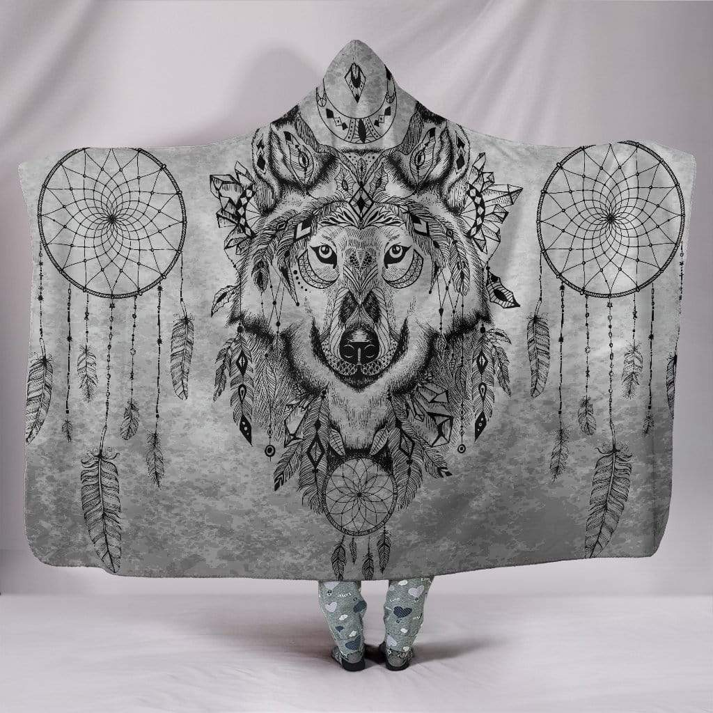"Boho Wolf Hooded Blanket Hooded Blanket / Youth 60""x45"""