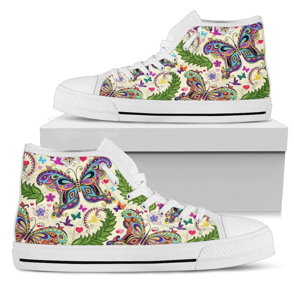 Butterfly High Top Shoes White Women's High Top