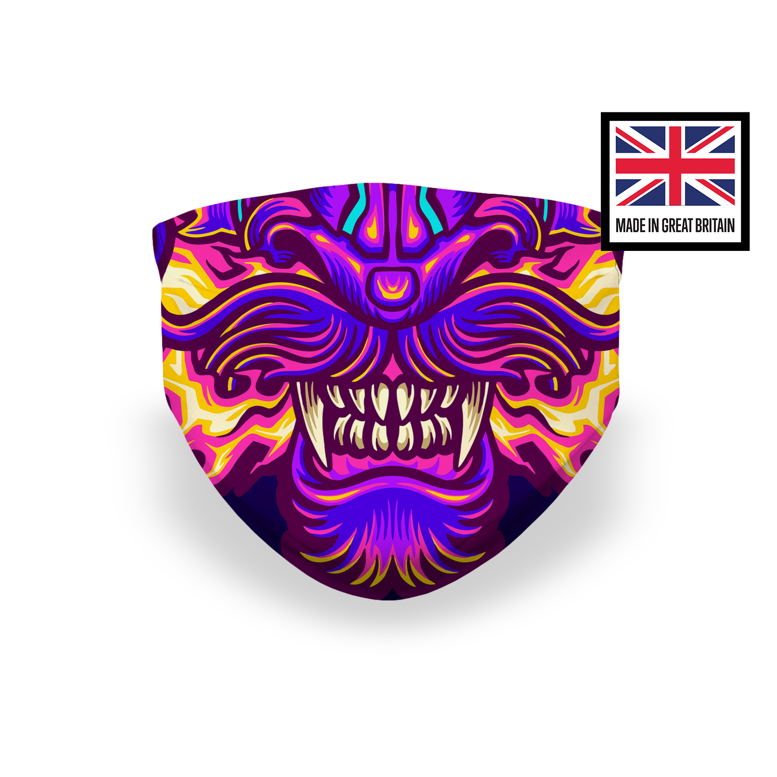 Dragon Lion Fierce Teeth Sublimation Face Mask