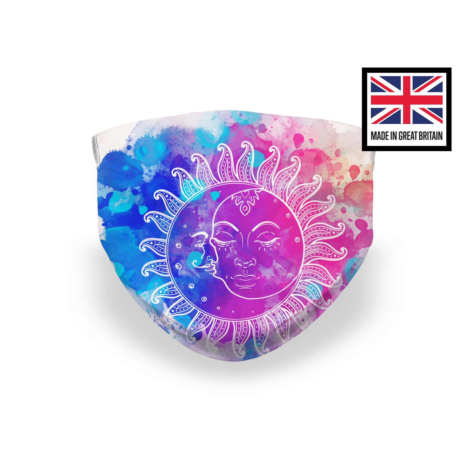 Watercolor Sun and Moon Puzzle Sublimation Face Mask