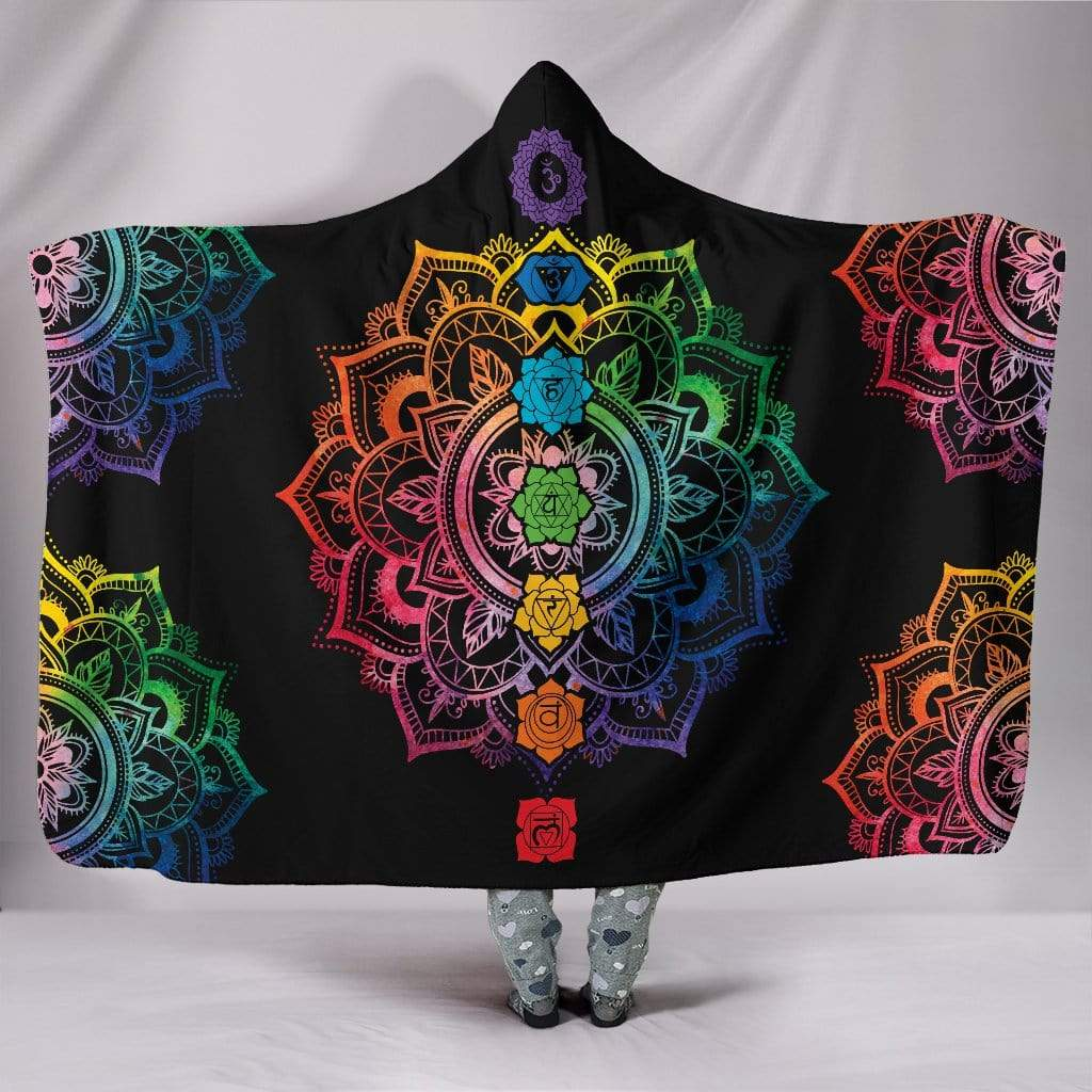 "Chakra Mandala Hoodie Blanket Hooded Blanket Hooded Blanket / Youth 60""x45"""