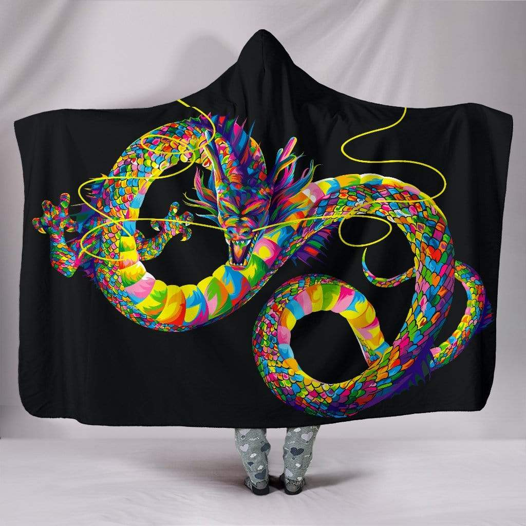 "Chinese Dragon Hooded Blanket Hooded Blanket Hooded Blanket / Youth 60""x45"""