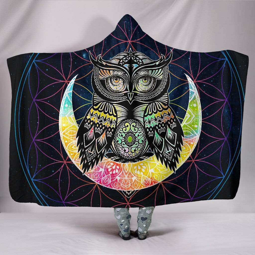 "Colorful Owl Hooded Blanket Hooded Blanket / Youth 60""x45"""