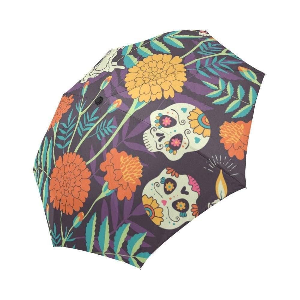 Day of the Dead Sugar Skulls Flowers Candles Auto-Foldable Umbrella Auto-Foldable Umbrella Auto-Foldable Umbrella / One Size