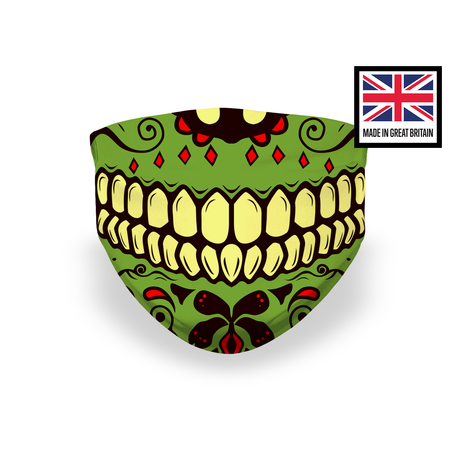 Sugar Skull Green Smile Teeth Sublimation Face Mask