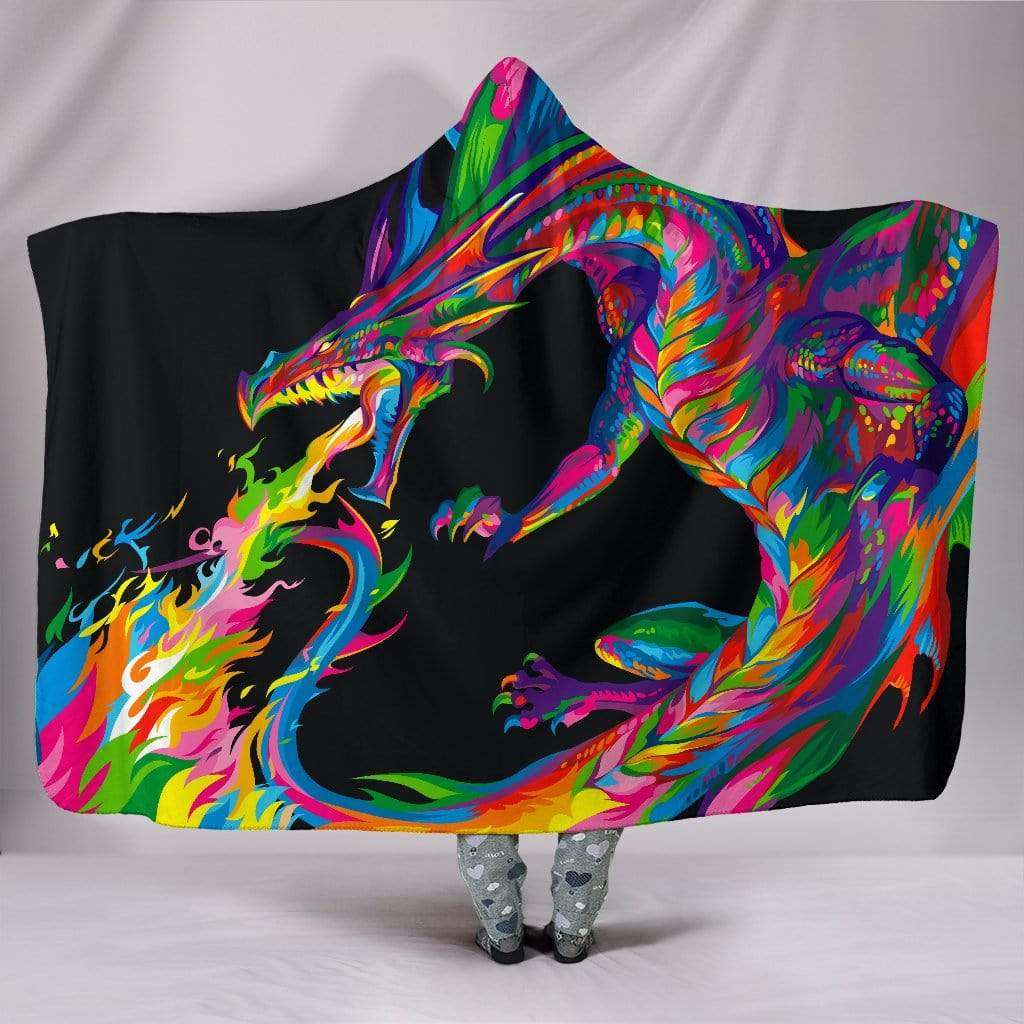 "Fantasy Dragon Hooded Blanket Hooded Blanket / Youth 60""x45"""