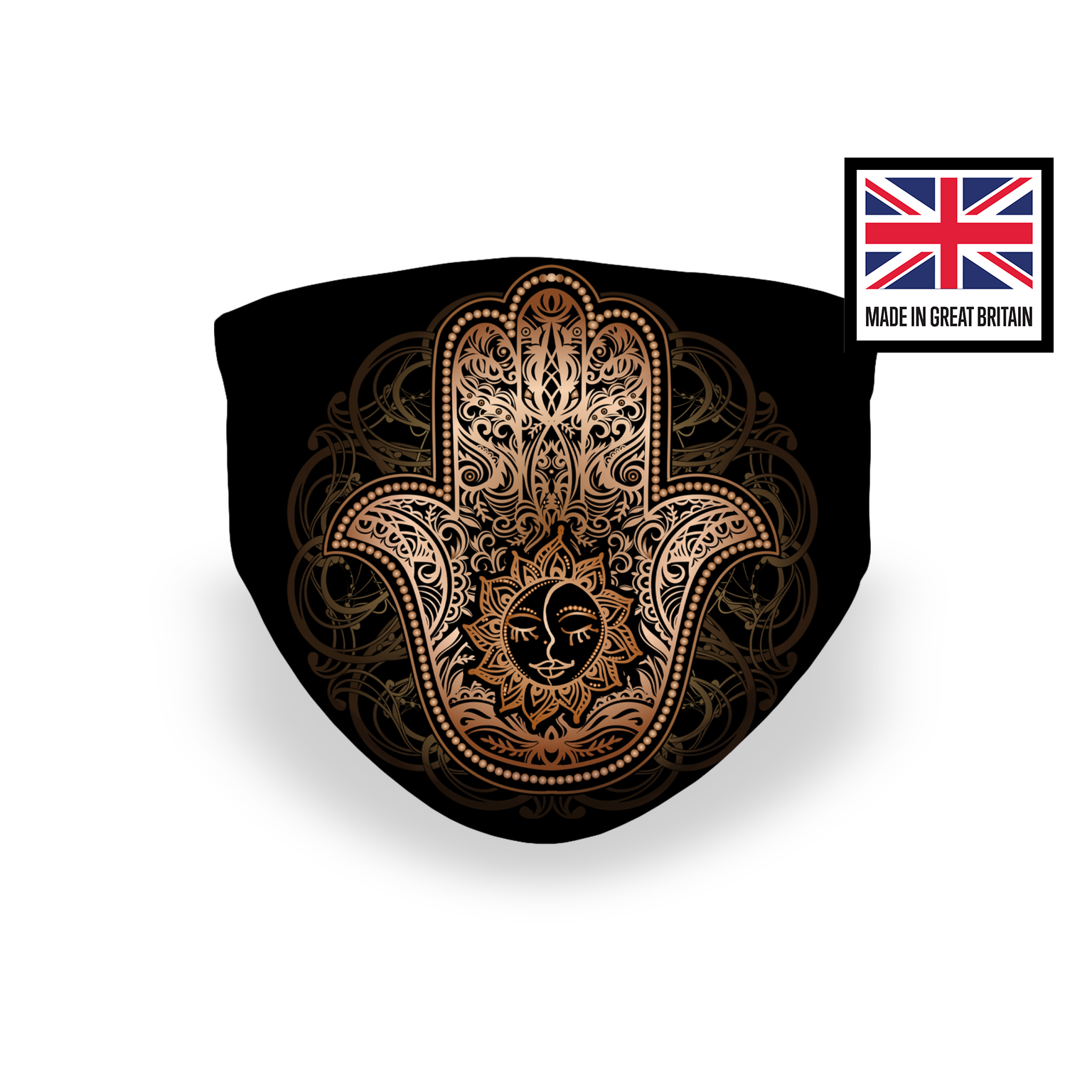 Black and Gold Hamsa Puzzle Sublimation Face Mask