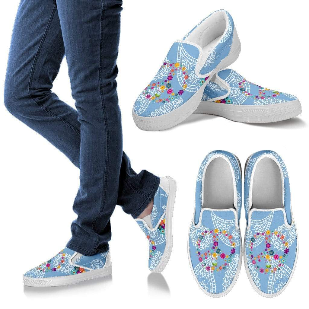 Floral Peace Sign Paisley Women's Slip Ons Women's Slip Ons - White - Floral Peace Sign Paisley / US6 (EU36)
