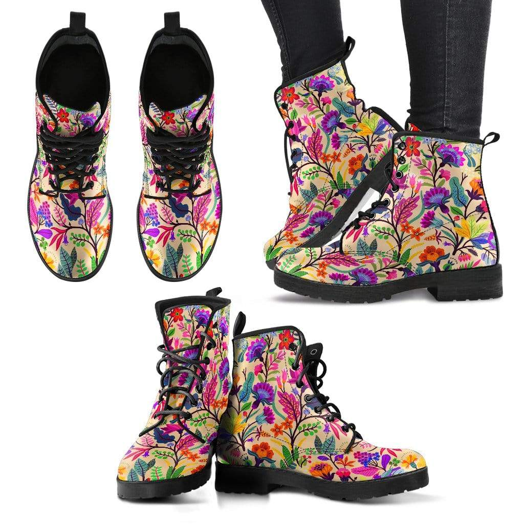 Floral Women's Leather Boots Women's Leather Boots