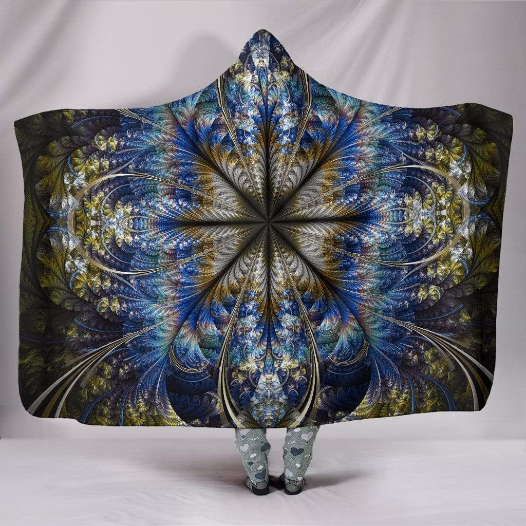 "Fractal Mandala Hooded Blanket Hooded Blanket Hooded Blanket / Youth 60""x45"""