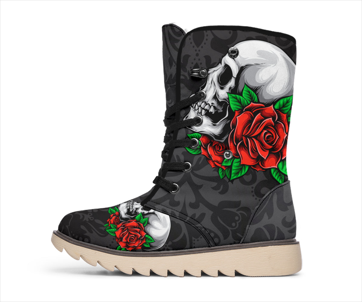 Skull And Roses Black Floral Pattern