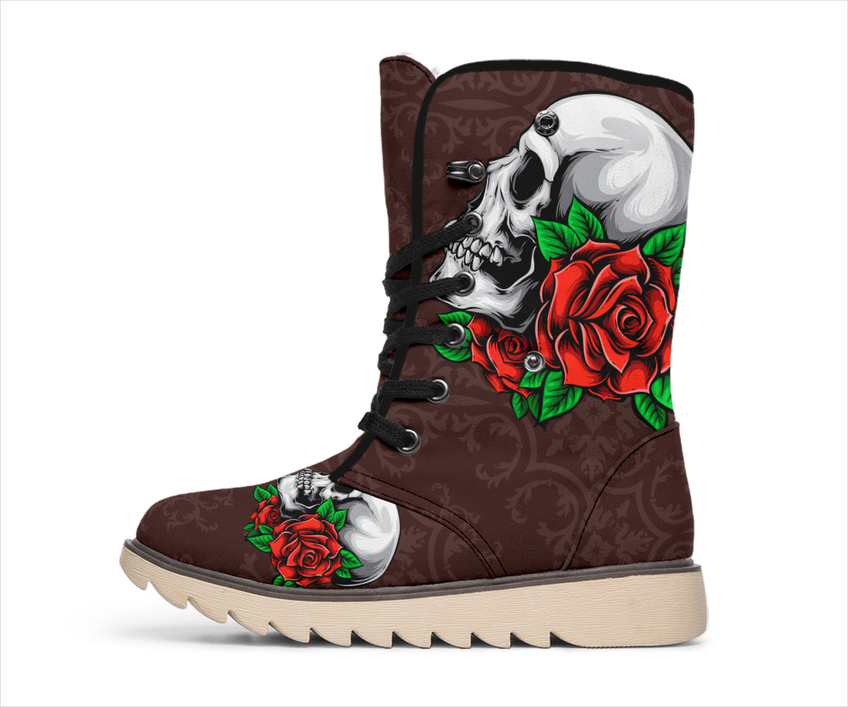 Skull And Roses Brown Pattern