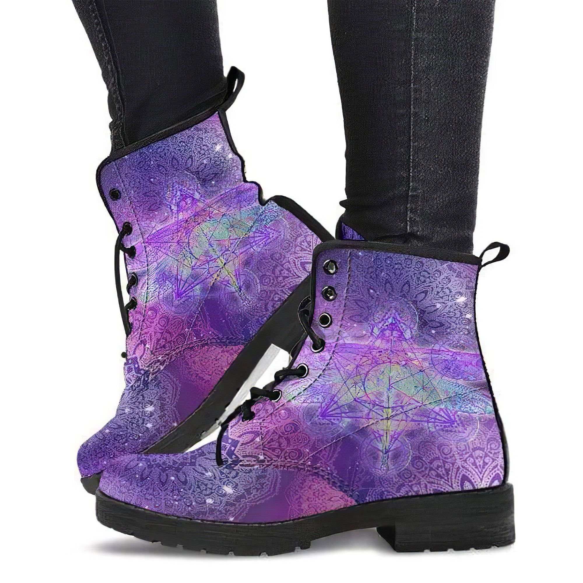 Details about  /Mandala Dragonfly Chakra Color Handcrafted Women/'s Vegan-Friendly Leather Boots