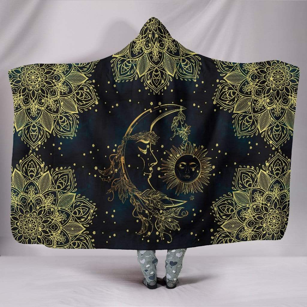 "Gold Sun Moon Hoodie Blanket Hooded Blanket Hooded Blanket / Youth 60""x45"""