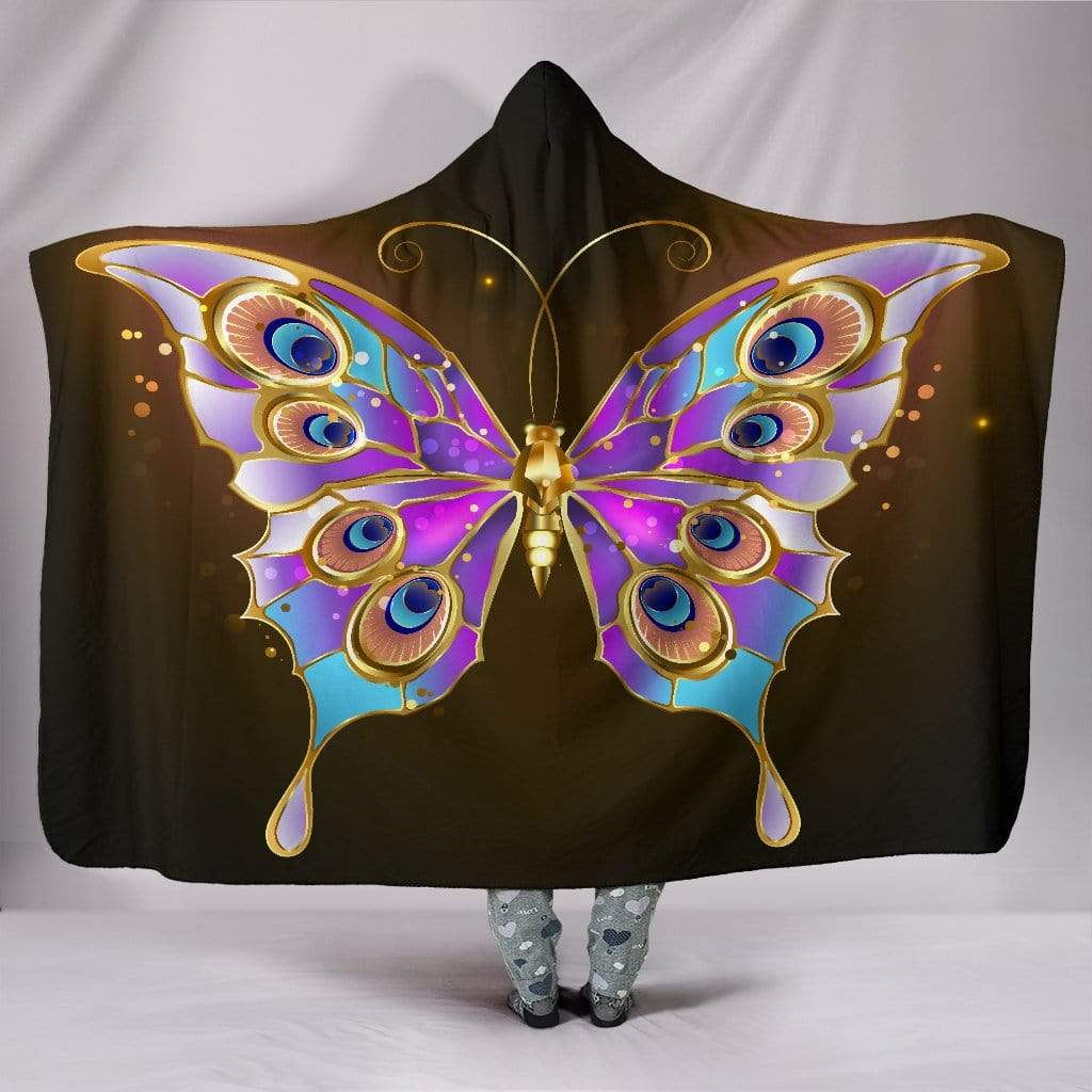 "Golden Butterfly Hooded Blanket Hooded Blanket Hooded Blanket / Youth 60""x45"""