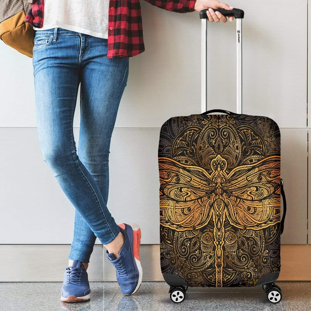 Golden Dragonfly Luggage Cover Luggage Cover