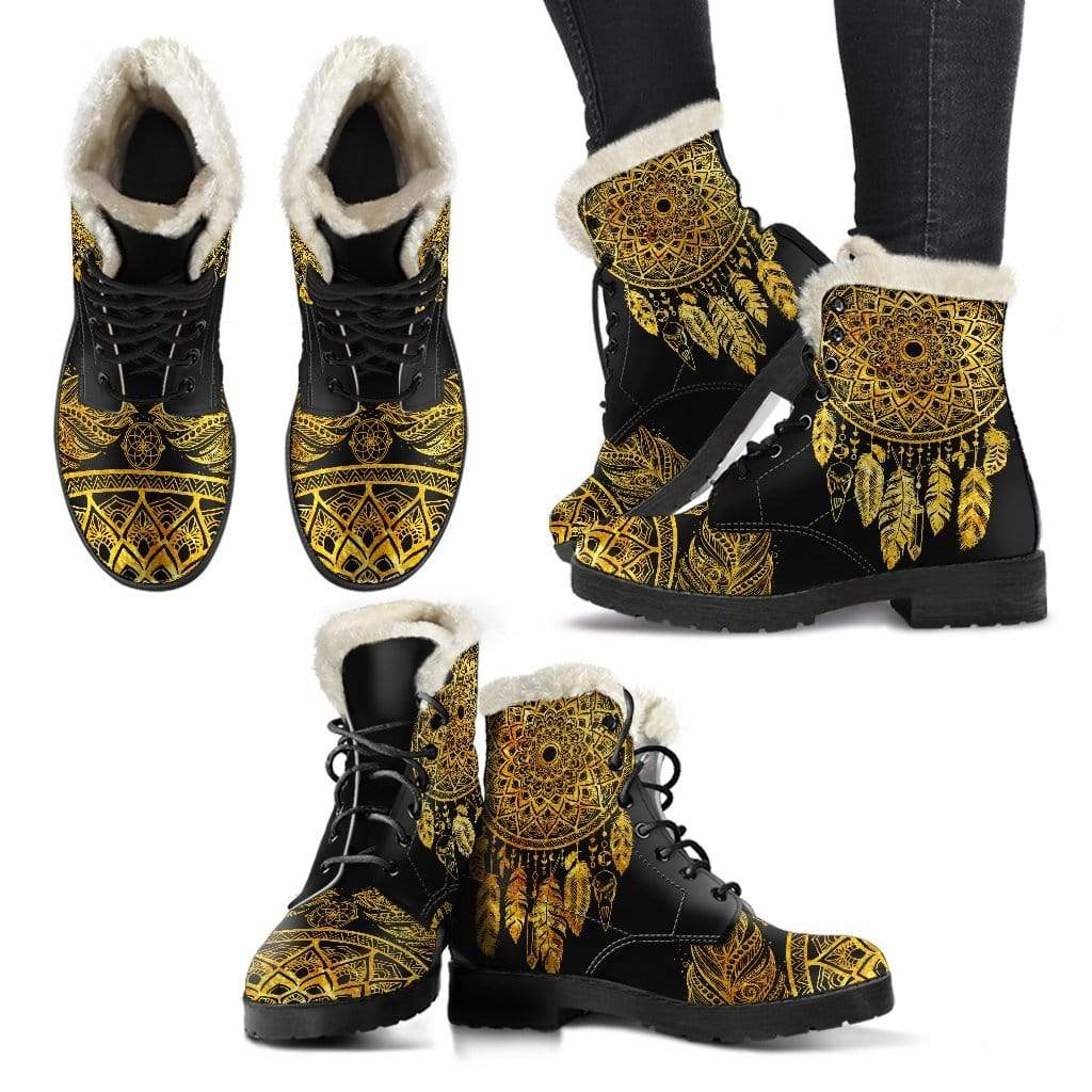 Golden Dream Catcher Boots Women's Faux Fur Leather Boots