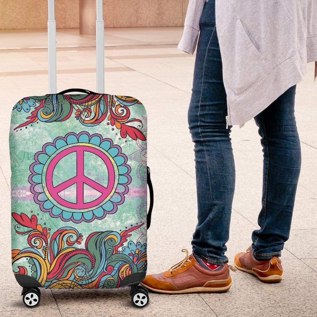 Hippie Peace Luggage Cover Luggage Cover Luggage Covers / Small 18-22 in / 45-55 cm
