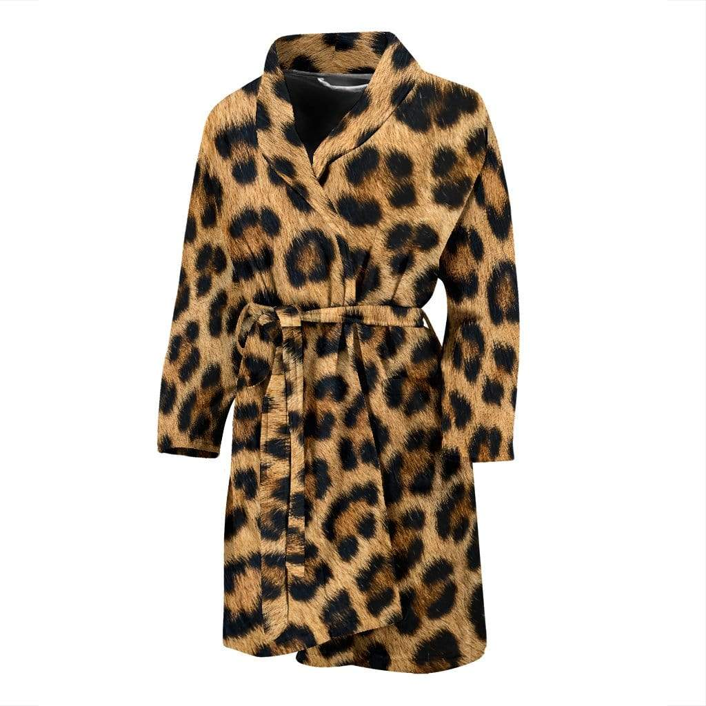 Leopard Fur Print Mens Bathrobe Men's Bath Robe Men's Bath Robe / Universal Fit
