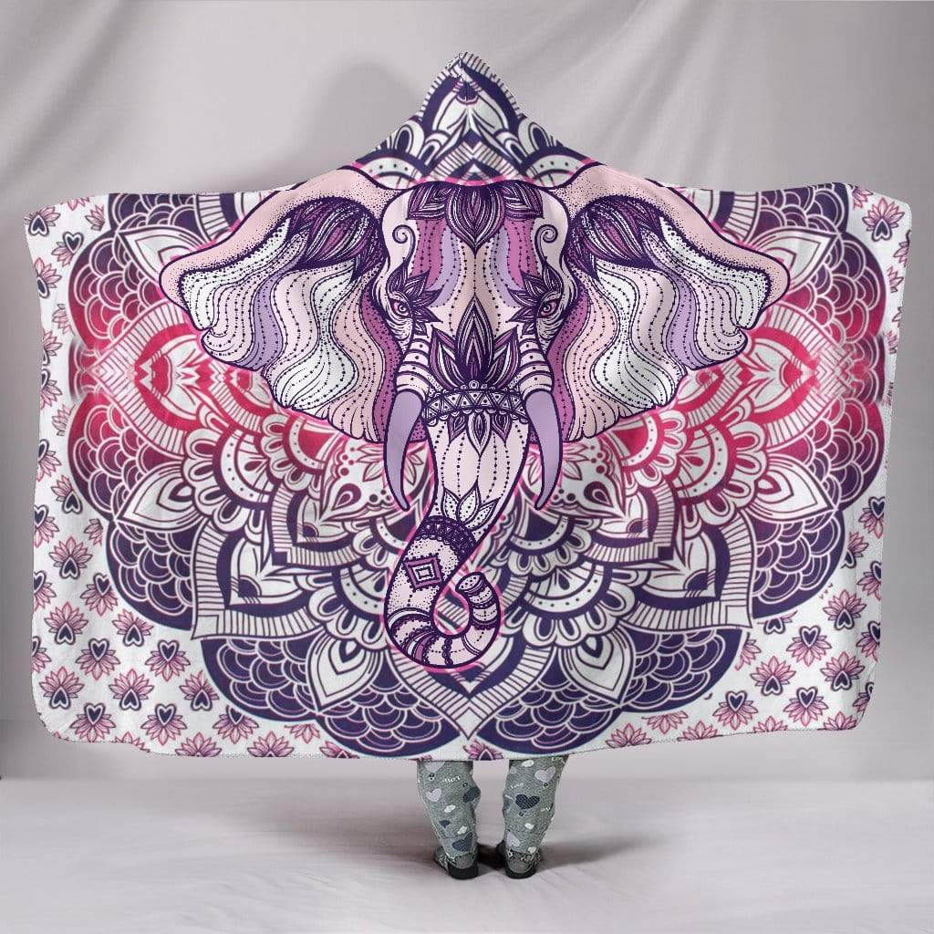 "Lucky Elephant Purple Mandala Hooded Blanket Hooded Blanket Hooded Blanket / Youth 60""x45"""