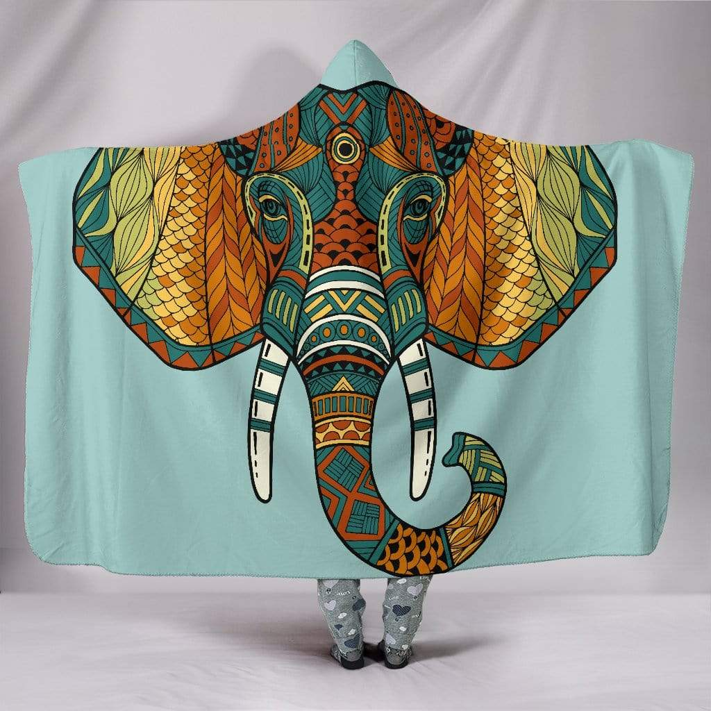 "Mandala Elephant Head Hooded Blanket Hooded Blanket / Youth 60""x45"""
