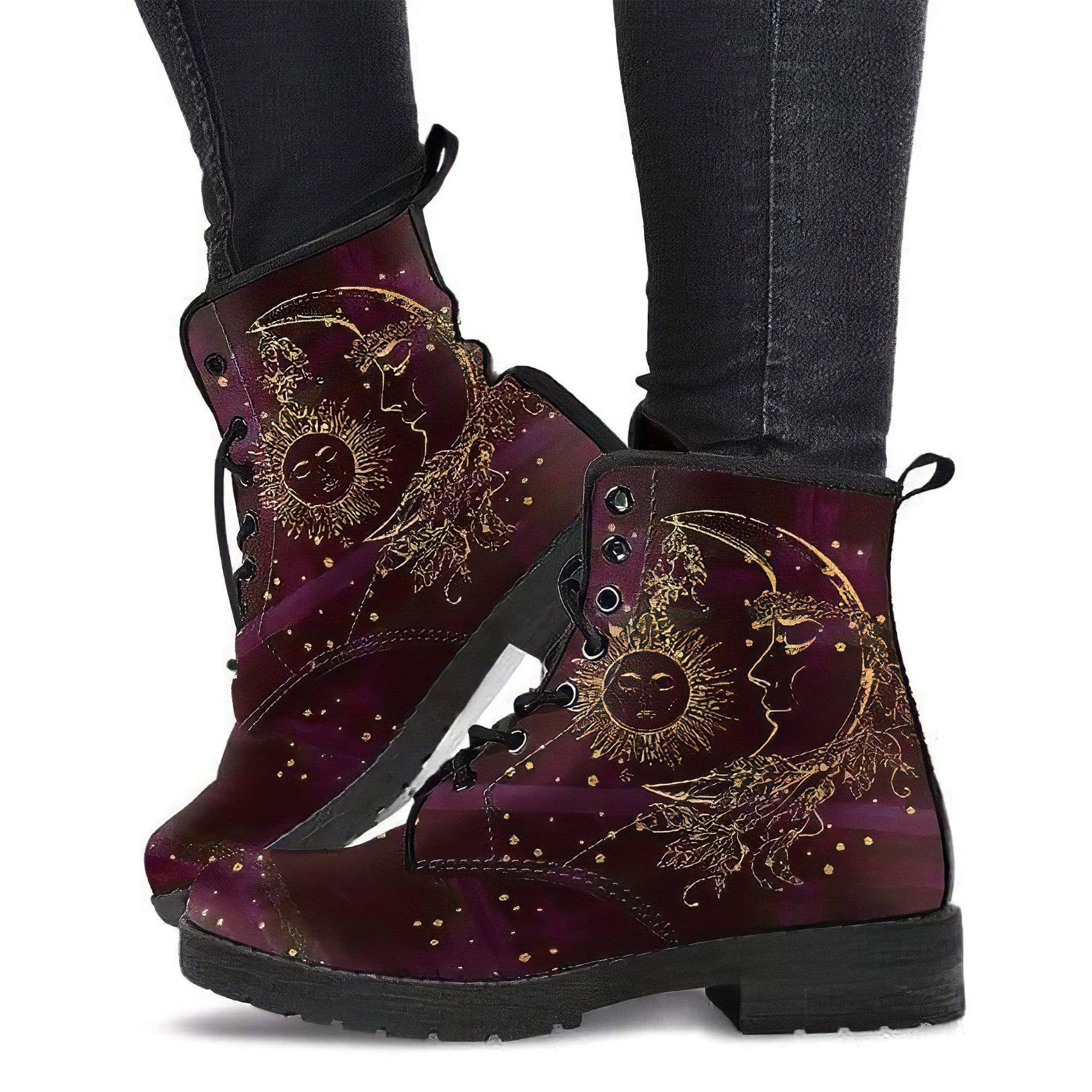 Maroon Sun and Moon Handcrafted Boots Women's Leather Boots