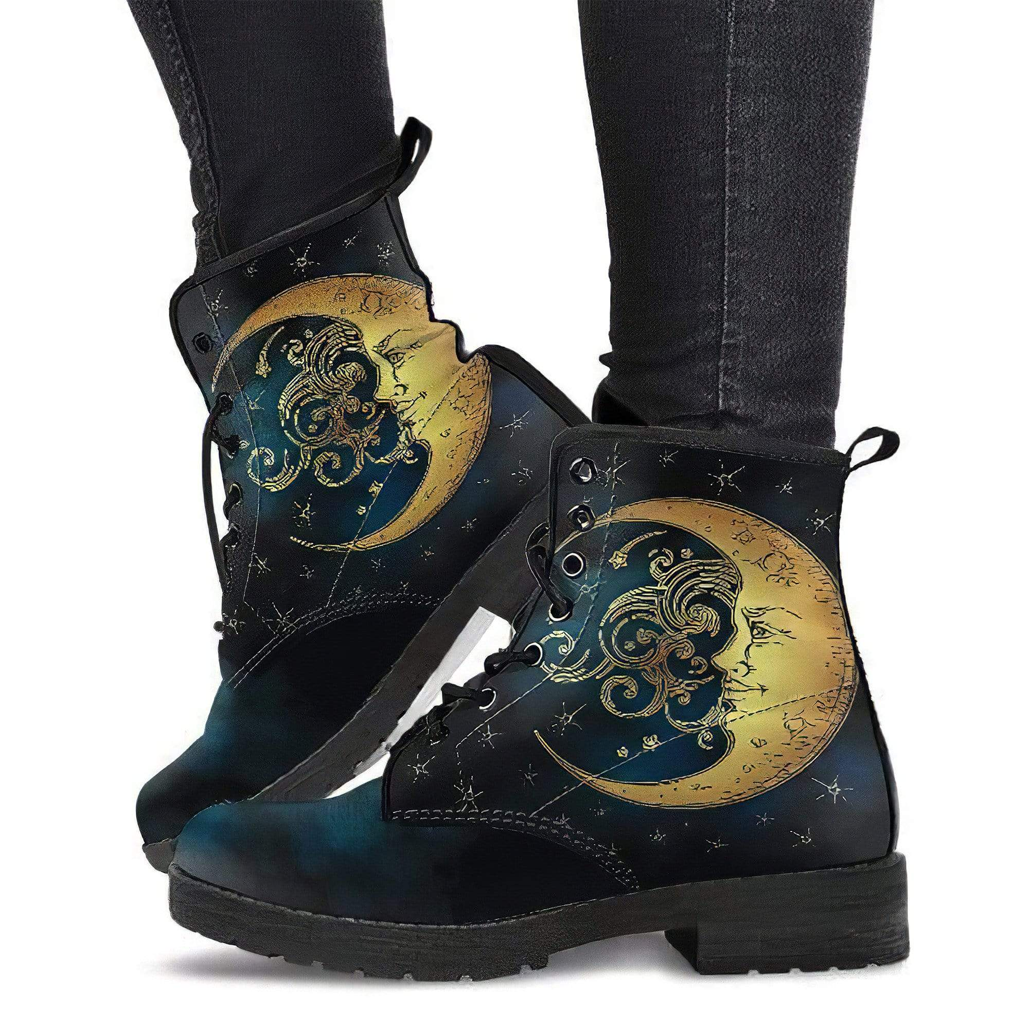 Moon with Swirl Handcrafted Boots Women's Leather Boots