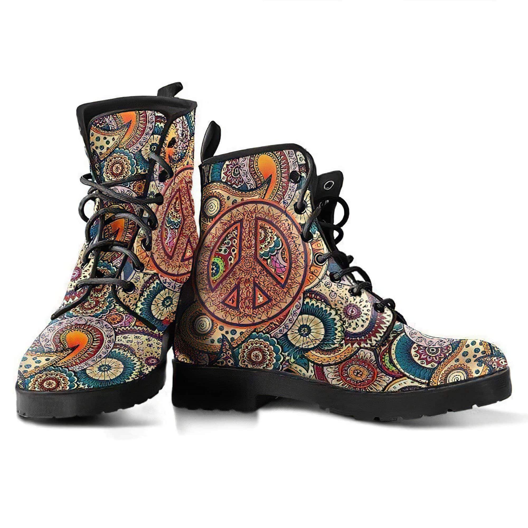 Peace Henna Mandala Women's Leather Boots Women's Leather Boots