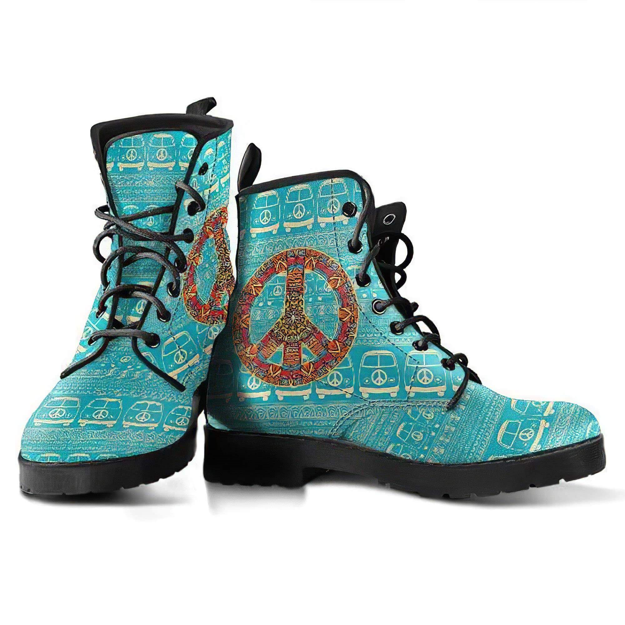 Peace Hippie Bus Handcrafted Boots Women's Leather Boots