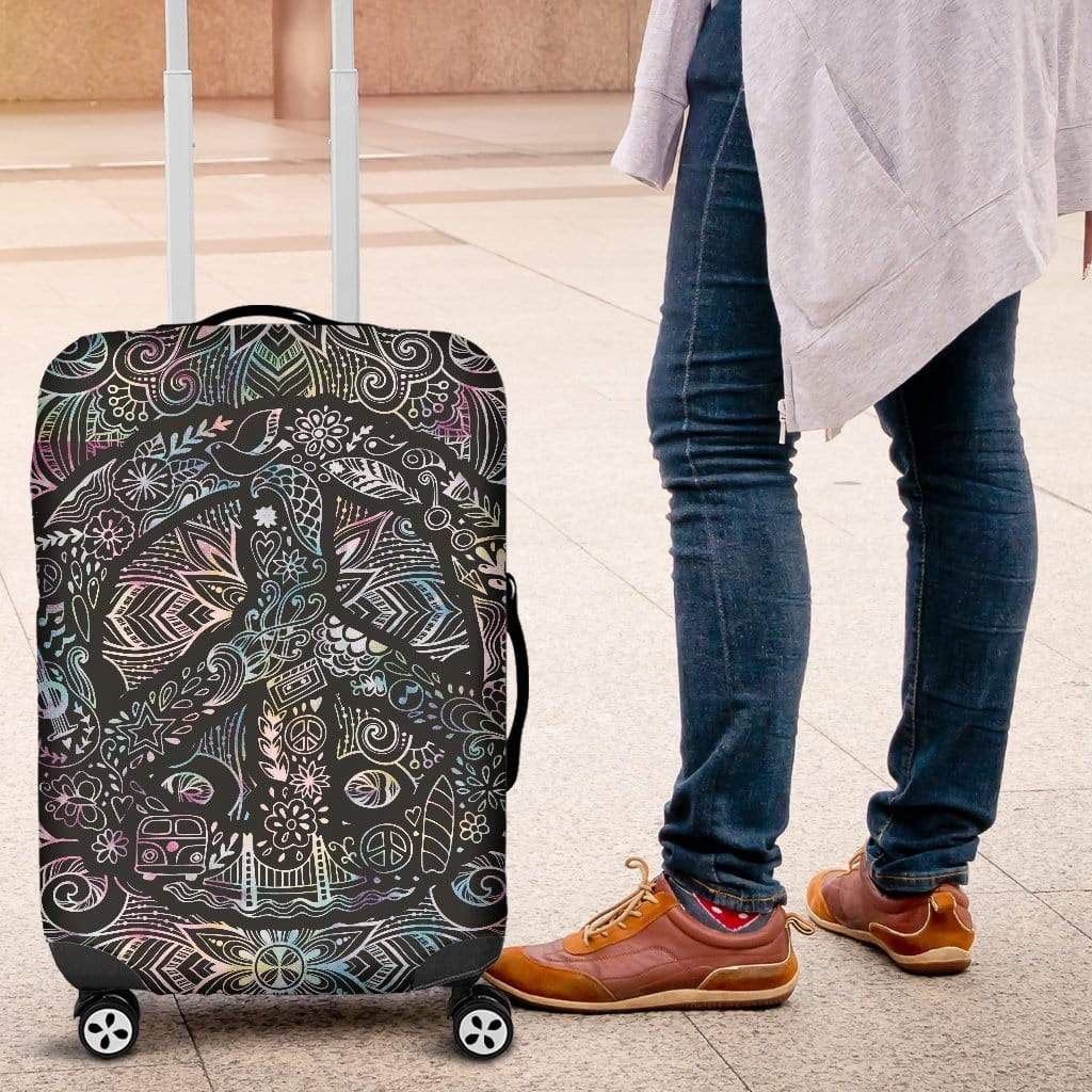 Peace Mandala Luggage Cover Luggage Cover Luggage Covers / Small 18-22 in / 45-55 cm