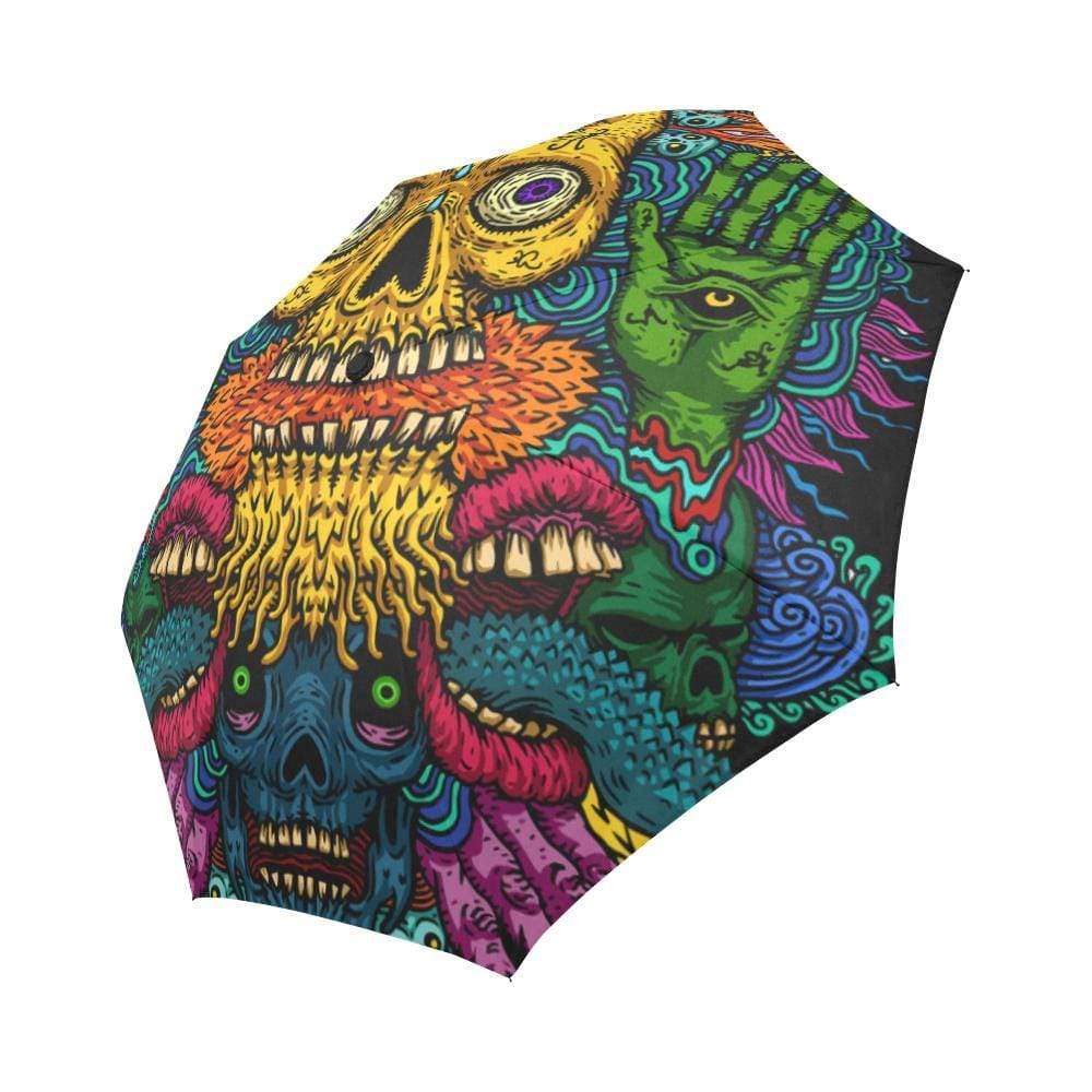 psychedelic skull with a third eye of a fire Auto-Foldable Umbrella Auto-Foldable Umbrella One Size