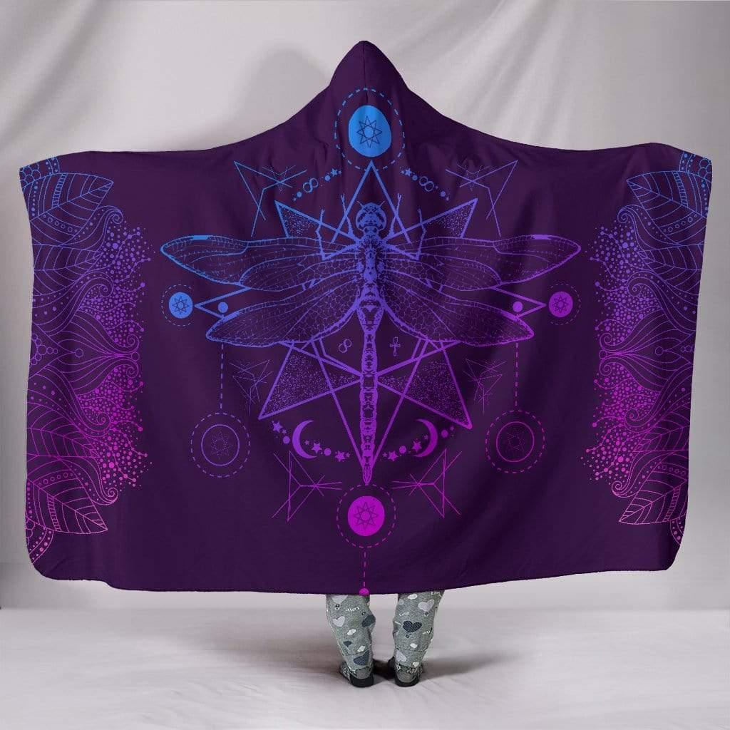 "Purple Dragonfly Fractal Hooded Blanket Hooded Blanket / Youth 60""x45"""