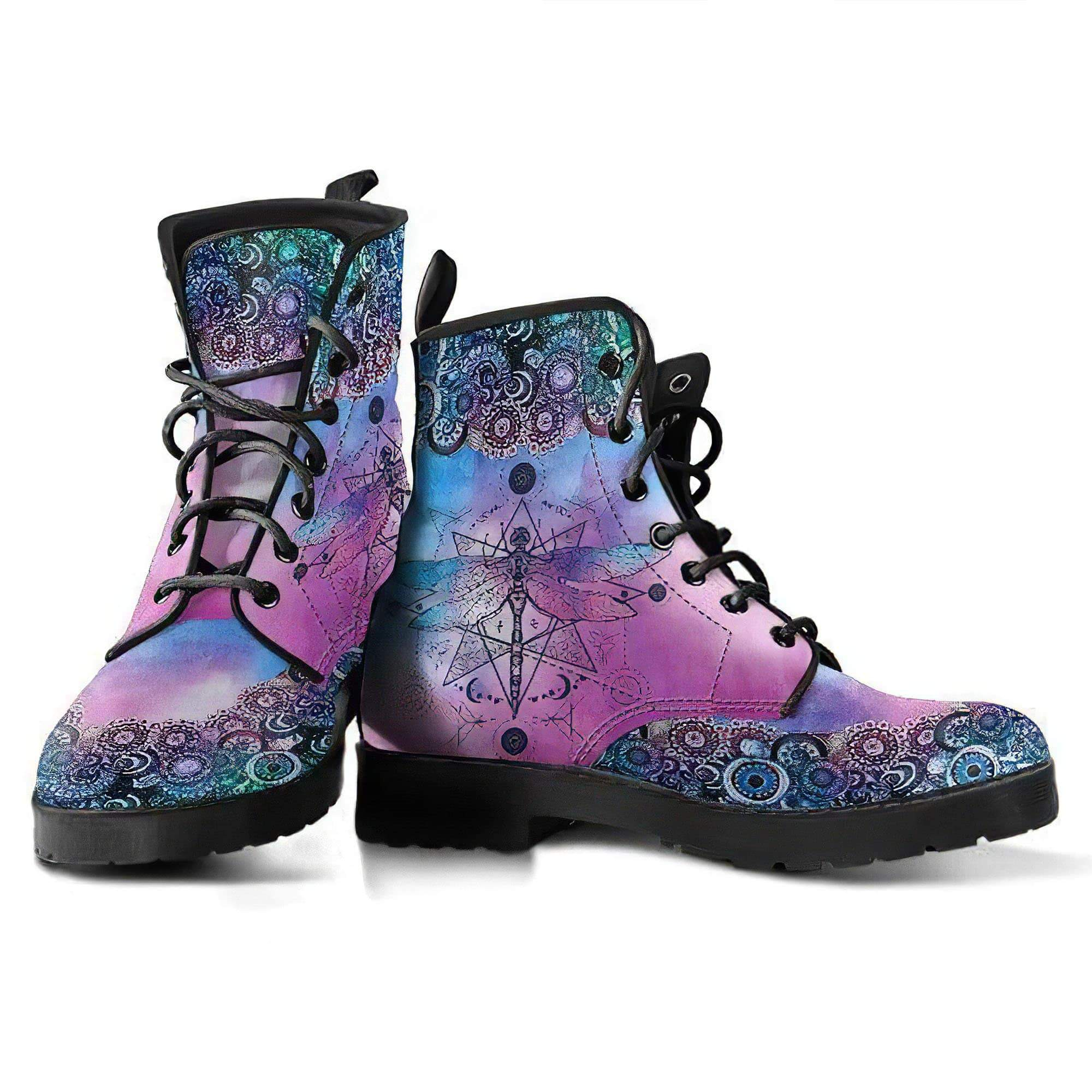 Purple Dragonfly Handcrafted Boots Women's Leather Boots