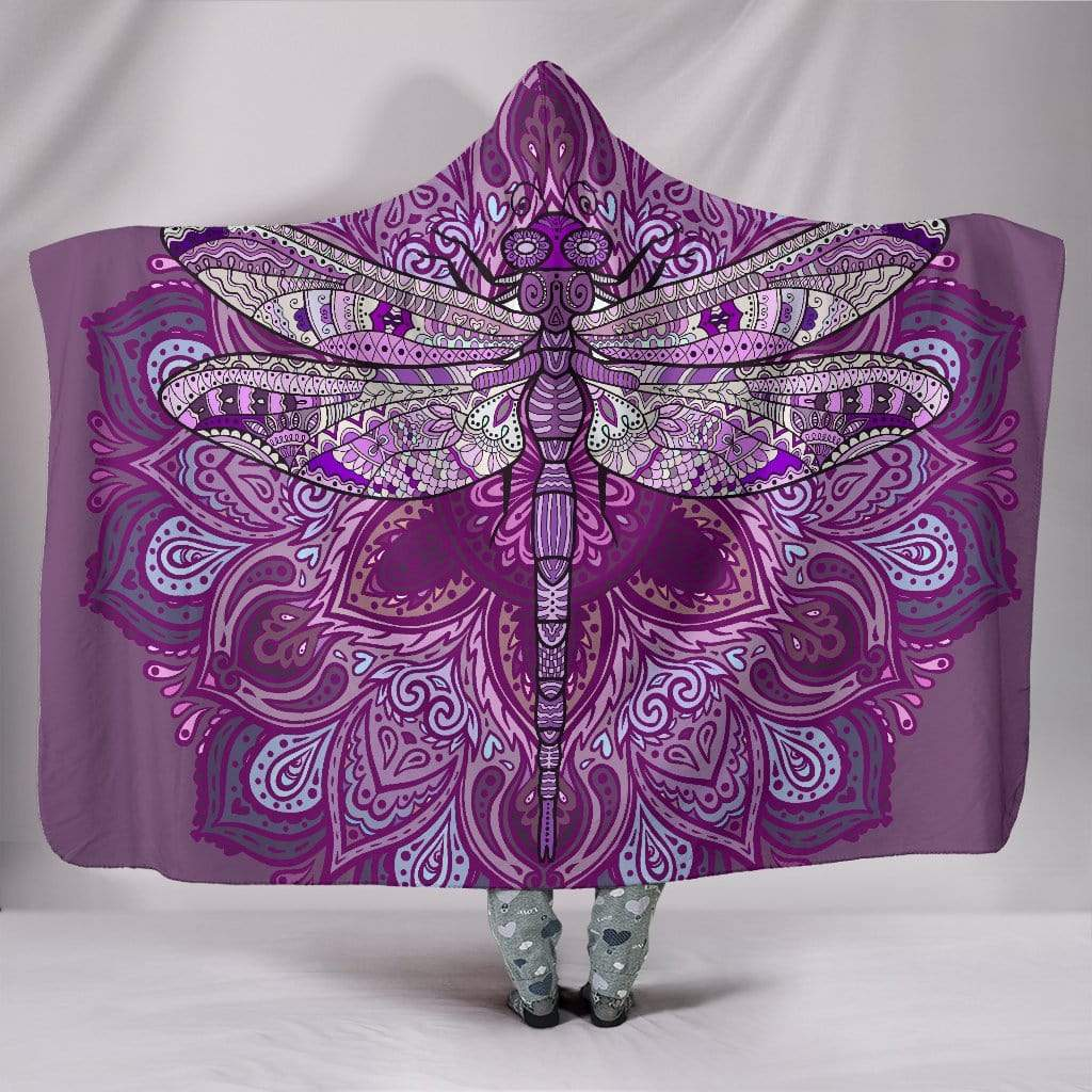 "Purple Dragonfly Mandala Hooded Blanket Hooded Blanket / Youth 60""x45"""