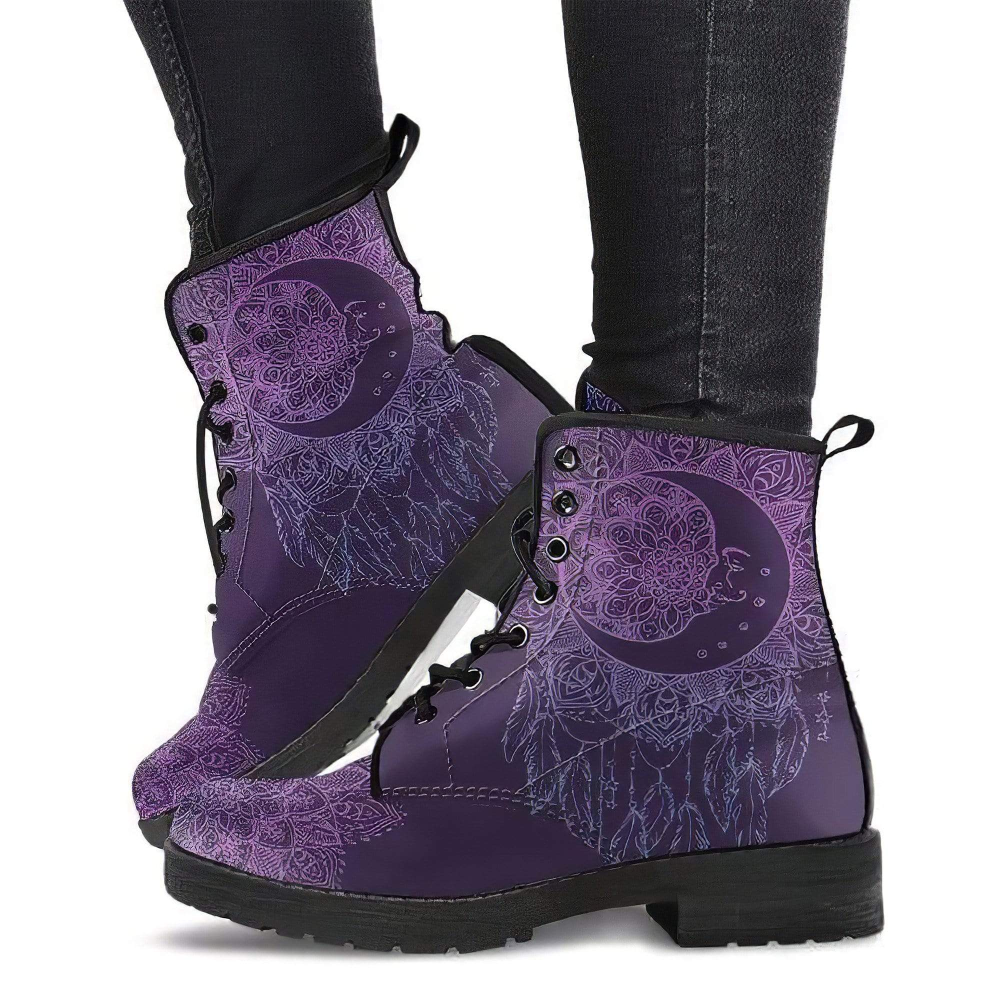 Purple Moon DreamCatcher Handcrafted Boots Women's Leather Boots