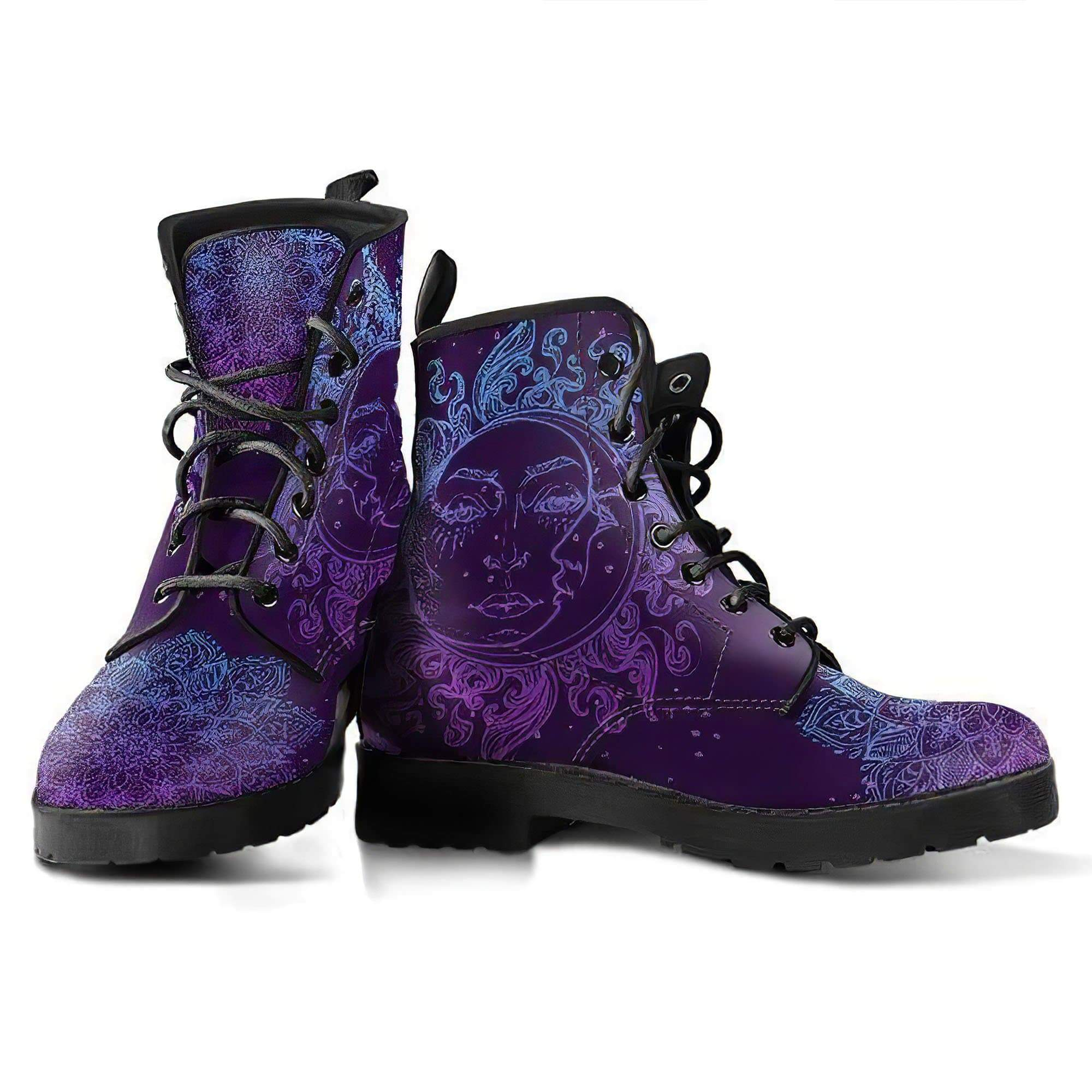 Purple Sun and Moon Handcrafted Boots Women's Leather Boots